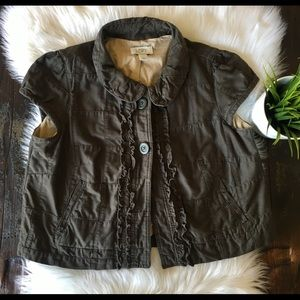 Ann Taylor LOFT Olive Cap Sleeve Ruffle Vest MED